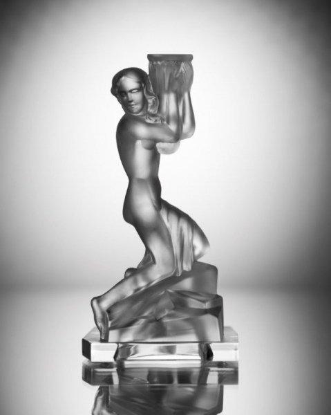 Art Deco 1930' Glass Candlestick Nude Girl H.Hoffmann