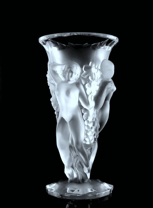 Art Deco Frosted Nude Figural Vase Art Glass