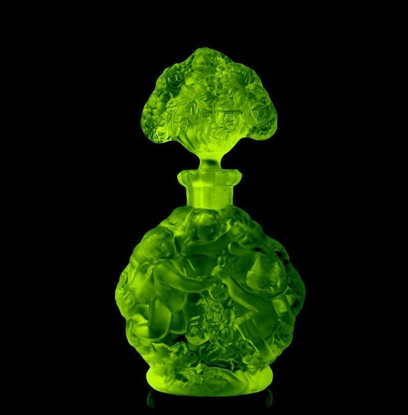 Art Deco Bohemian Vaseline Glass Perfume Bottle