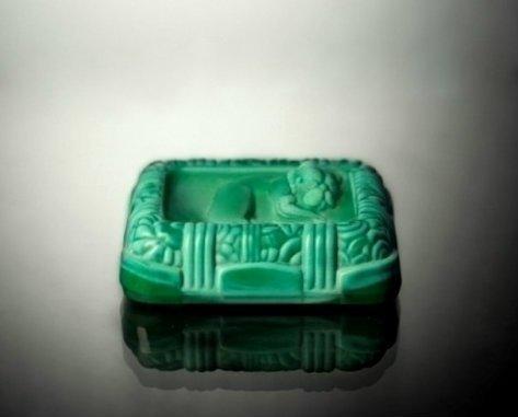 Art Deco 1930's Malachite Glass Trinket Jewelry Box