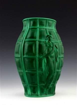 Art Deco 1930' Jade Malachite Nude Vase H.Hoffmann