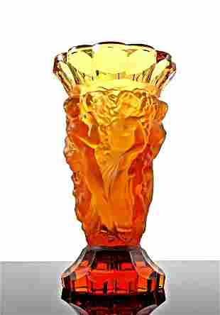 Art Deco 1930's Amber Glass Nude Figural Large Vase