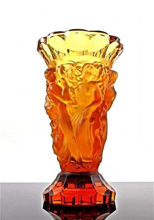 Art Deco 1930's Amber Glass Nude Figural Large Vase