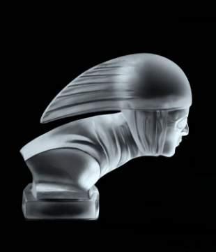 Art Deco 1930's Glass Car Mascot ' Racer ' Figurine