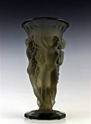Art Deco 1930' Nude Ladies Smoke Glass Bacchantes Vase