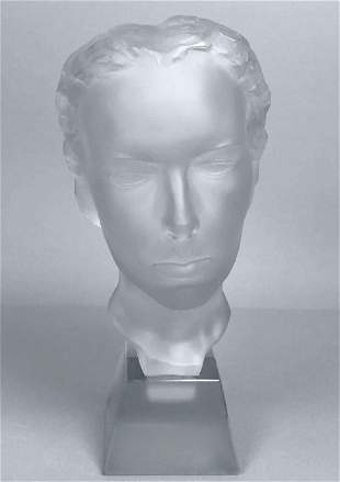 Art Deco 1930' XLarge Bust Ingrid Glass H.Hoffmann