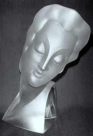 Glamorous Art Deco 1930' Glass Lady Bust H.Hoffmann