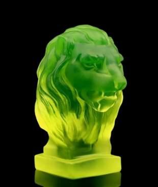 Art Deco 1930' Lion Sculpture Vaseline Glass