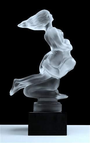 Art Deco 1930' Nude Lovers Art Glass Sculpture