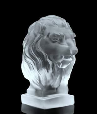 Art Deco 1930' Glass Car Mascot ' Lion ' Hood Ormanent