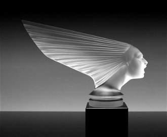 Glass Sculpture ' Spirit Of The Wind ' Hood Ornament