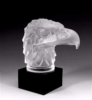 Art Deco 1930's ' Head Eagle ' Art Glass Hood Ornament