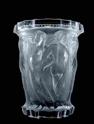 Art Deco Nude Figural Art Glass Large Vase