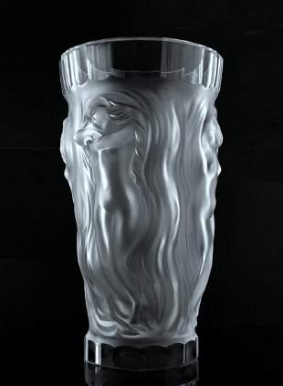 "Glamorous Art Deco Nude Figural Glass XXLarge Vase 13"""