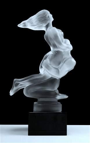 Art Deco 1930' Nude Lovers Art Glass Crystal Sculpture