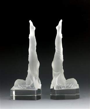 Art Deco Female Nude Art Glass Bookends
