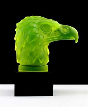 Art Deco 1930' Head Eagle ' Hood Ornament Uranium Glass