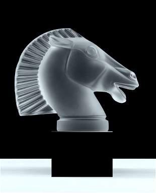 Art Deco ' Longchamp ' Glass Horse Hood Ornament