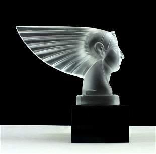 Art Deco 1930' Art Glass Car Mascot Hood Ornament