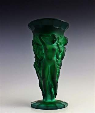 Art Deco 1930' Bohemian Malachite Glass Vase H.Hoffmann