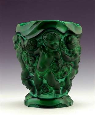 Art Deco 1930' Bohemian Jade Malachite Vase H.Hoffmann