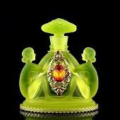 Art Deco Vaseline Glass Perfume Bottle 1930' H.Hoffmann