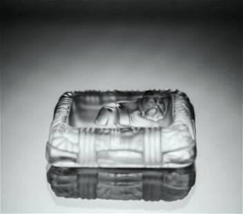 Art Deco 1930's Glass Trinket Jewelry Box