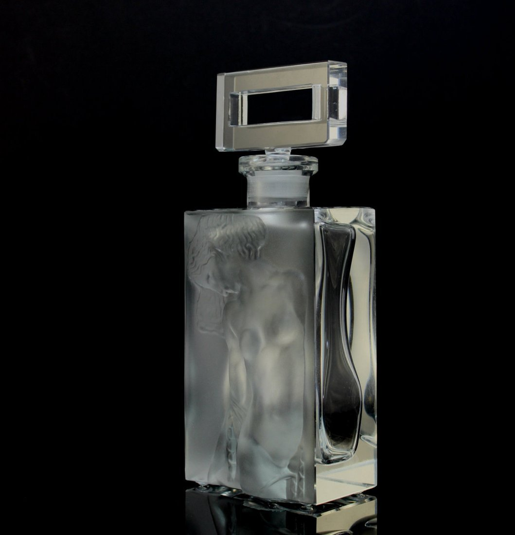 Bohemian Art Deco Frosted Glass Perfume Bottle