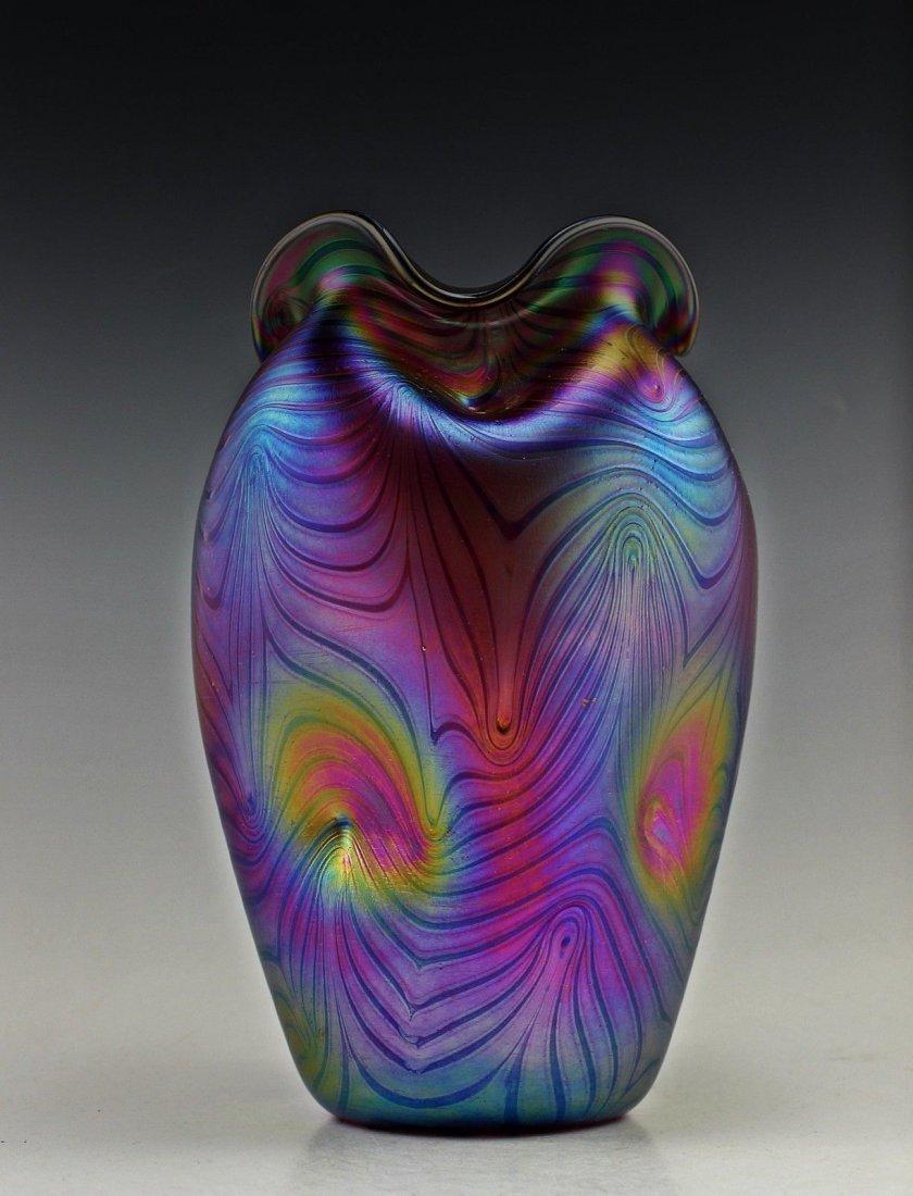 Amazing Bohemian Loetz Style Iridescent Vase