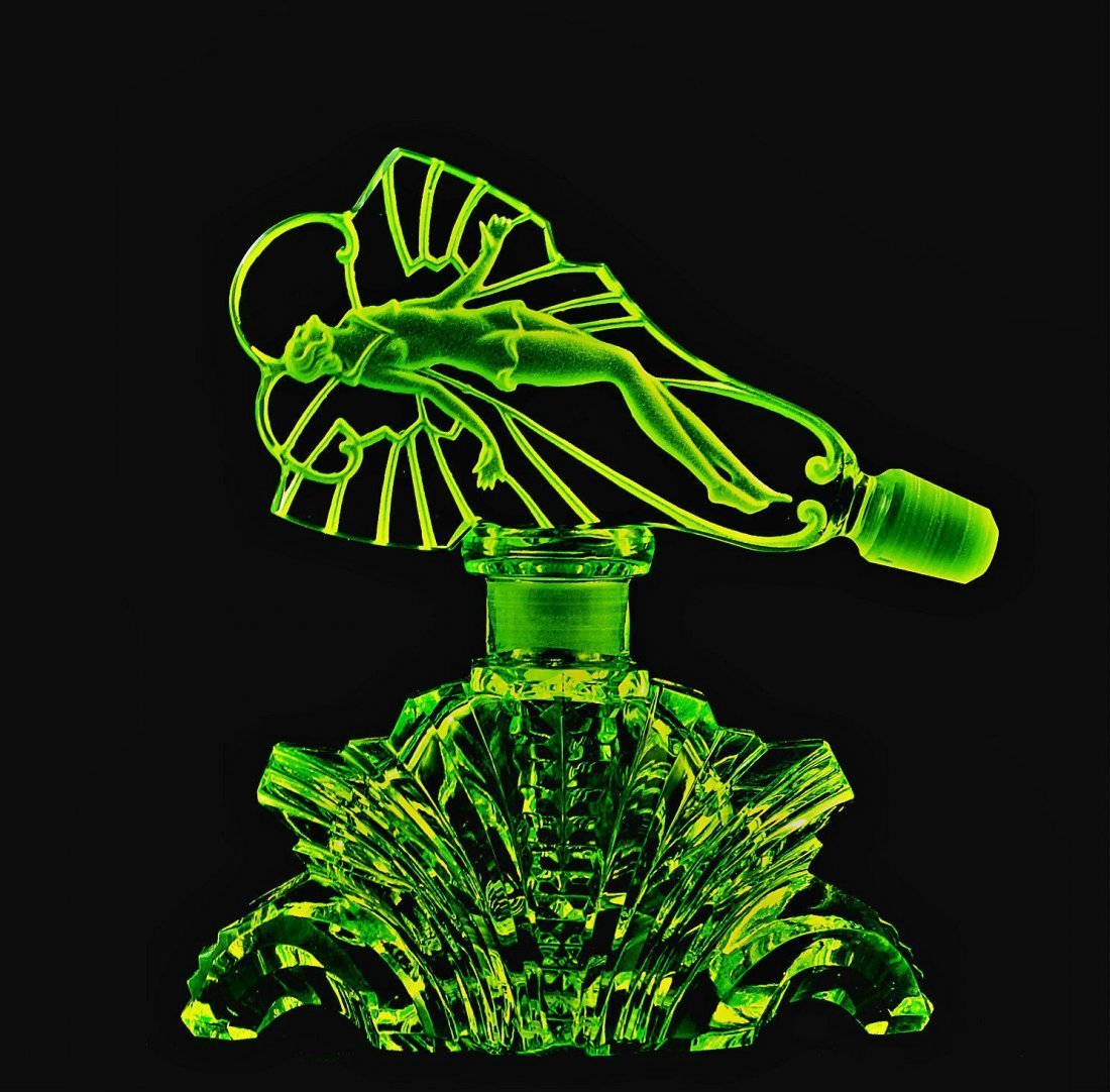 Bohemian Art Deco Vaseline Glass Perfume Bottle
