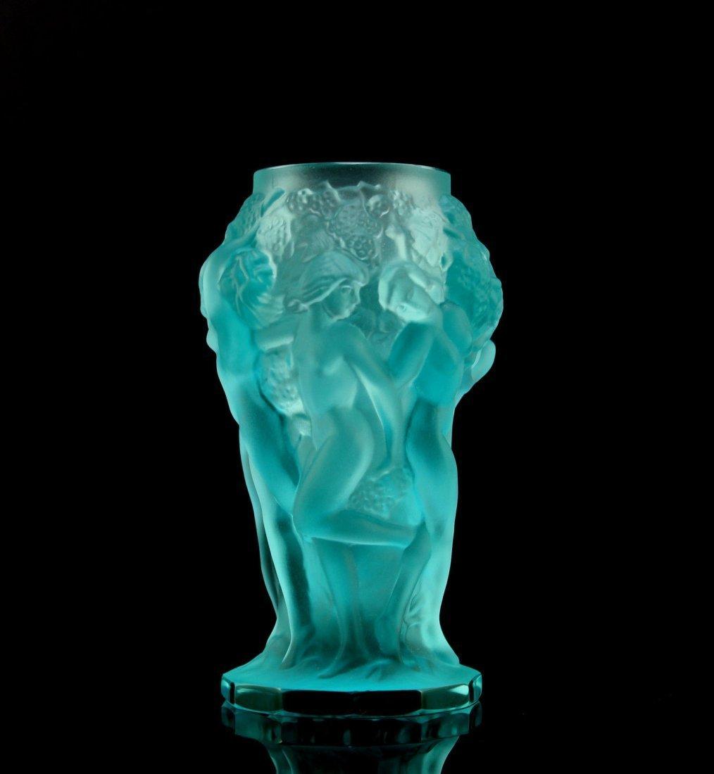 Bohemian Art Deco Aquamarin Uranium Glass Vase Nude