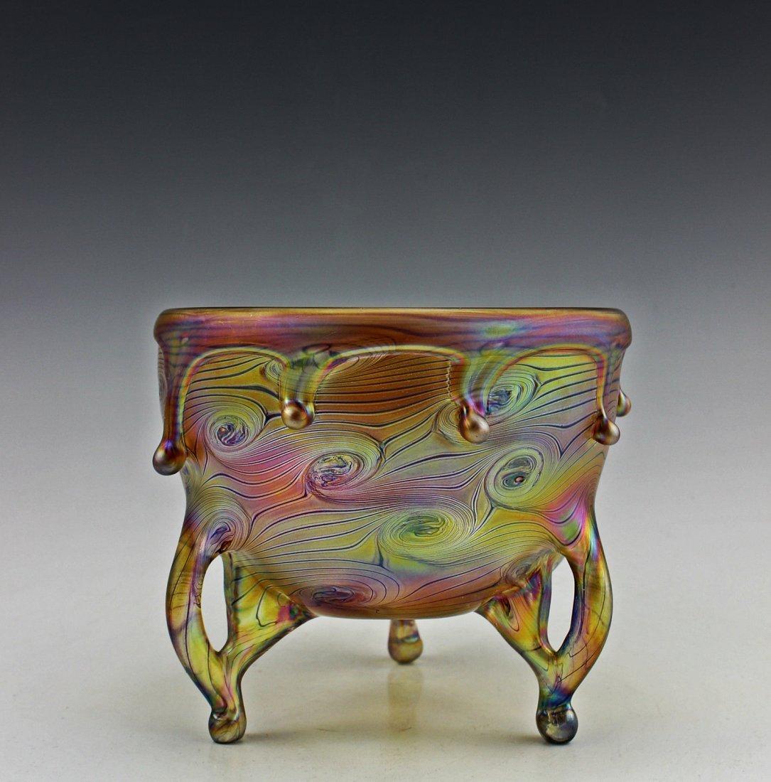 Amazing Glass Art Noveau Style Loetz Iridescent Bowl