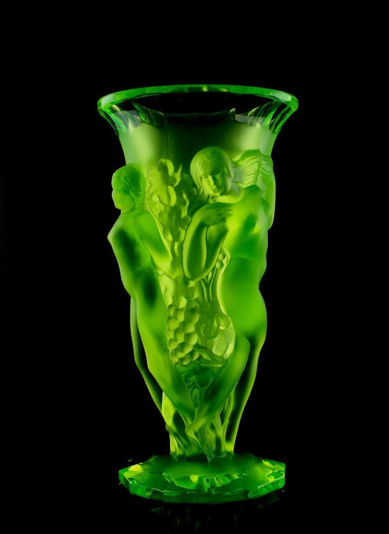 Bohemian Art Deco Vaseline Glass Nude Figural Vase