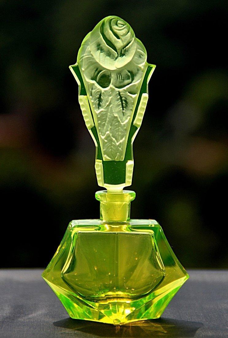 Bohemian Art Deco Vaseline Glass Perfume Bottle Signed