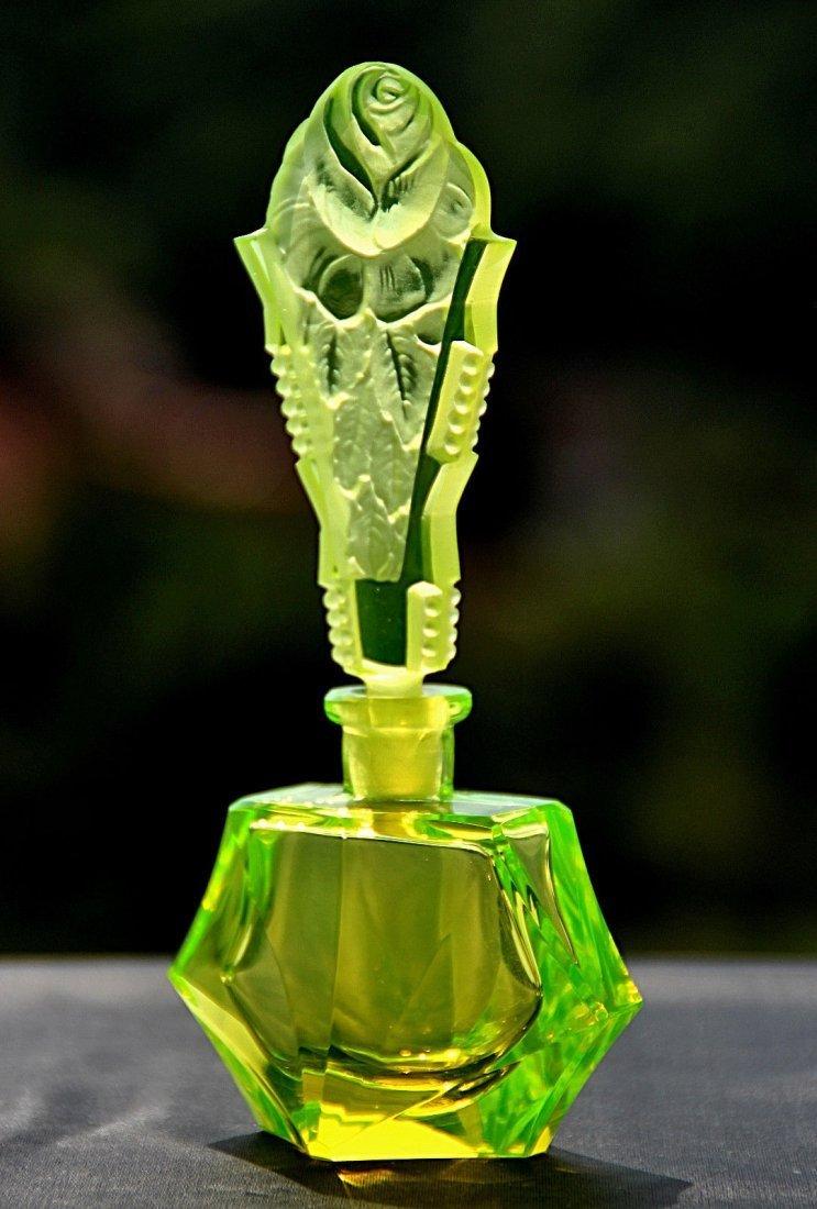 Bohemian Art Deco Vaseline Glass Perfume Bottle Signed - 2