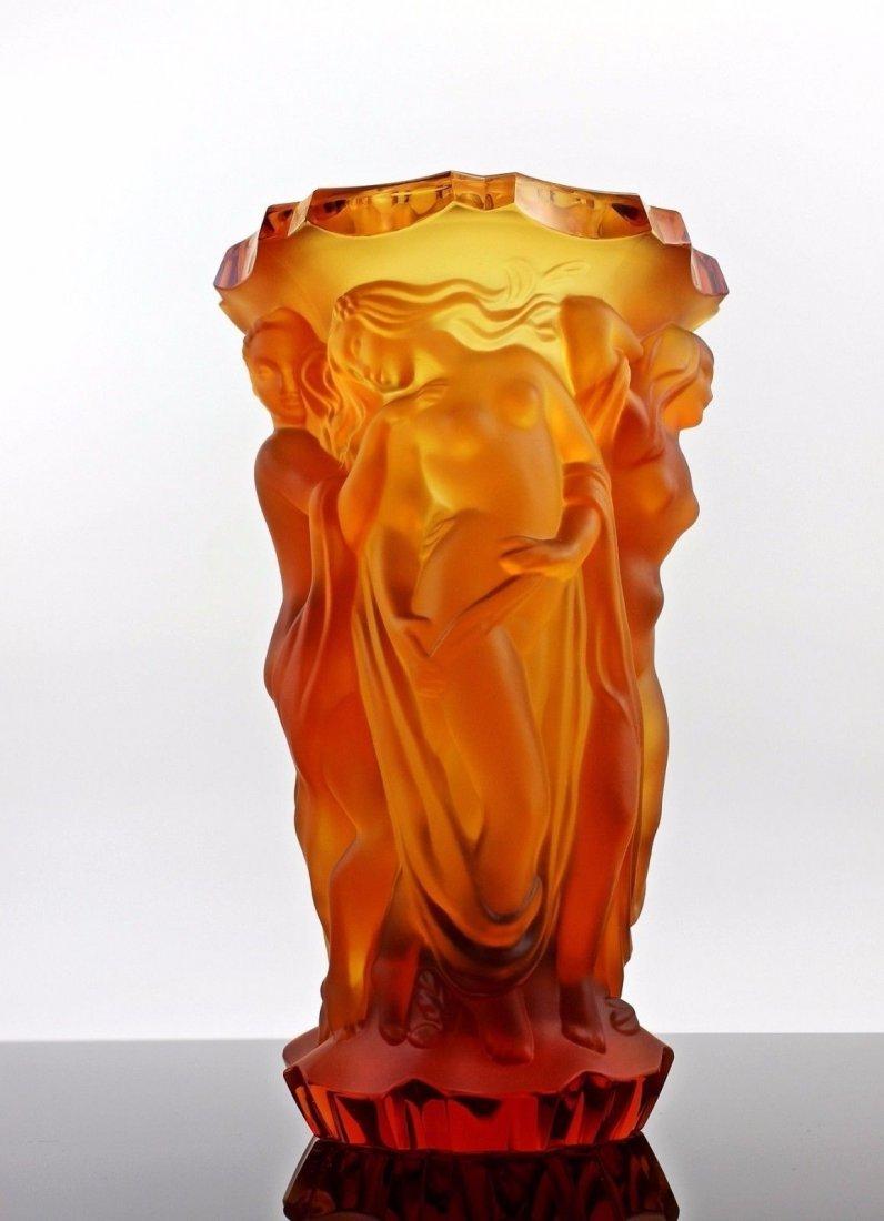 France/Bohemian Art Deco Amber Glass Rare Vase