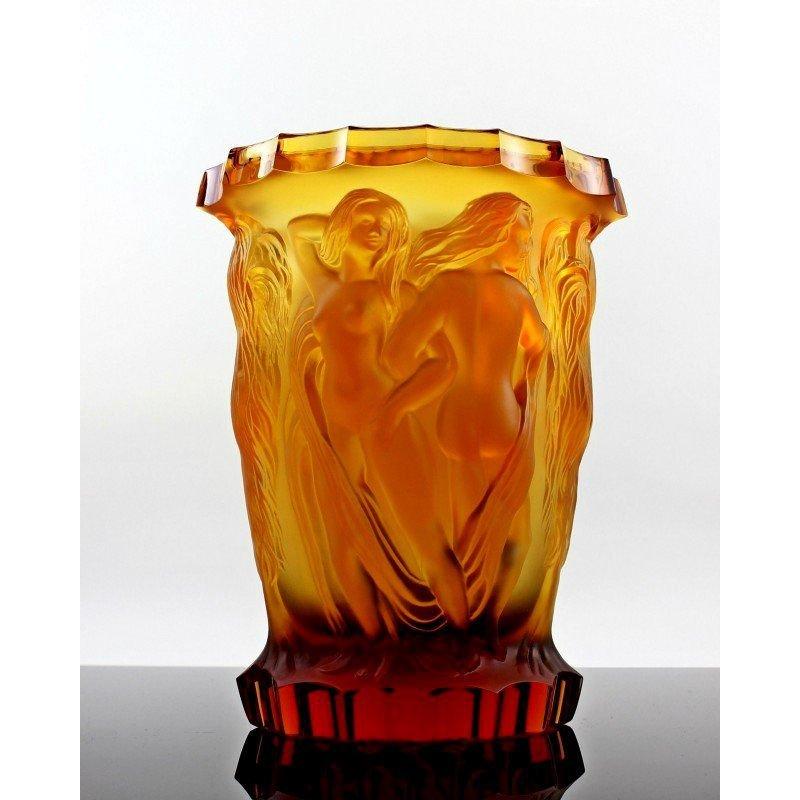 Bohemian Art Deco Amber Glass Rare Large Vase