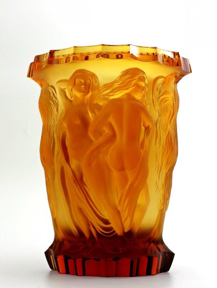 Bohemian Art Deco Amber Glass Rare Large Vase - 2