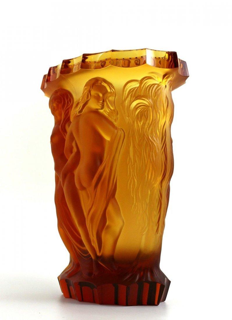 Bohemian Art Deco Amber Glass Rare Large Vase - 3