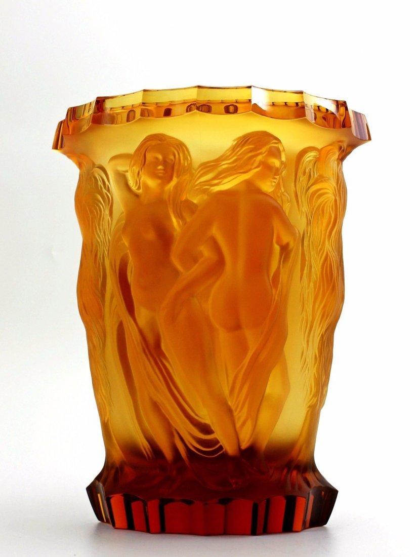 Bohemian Art Deco Amber Glass Rare Large Vase - 4