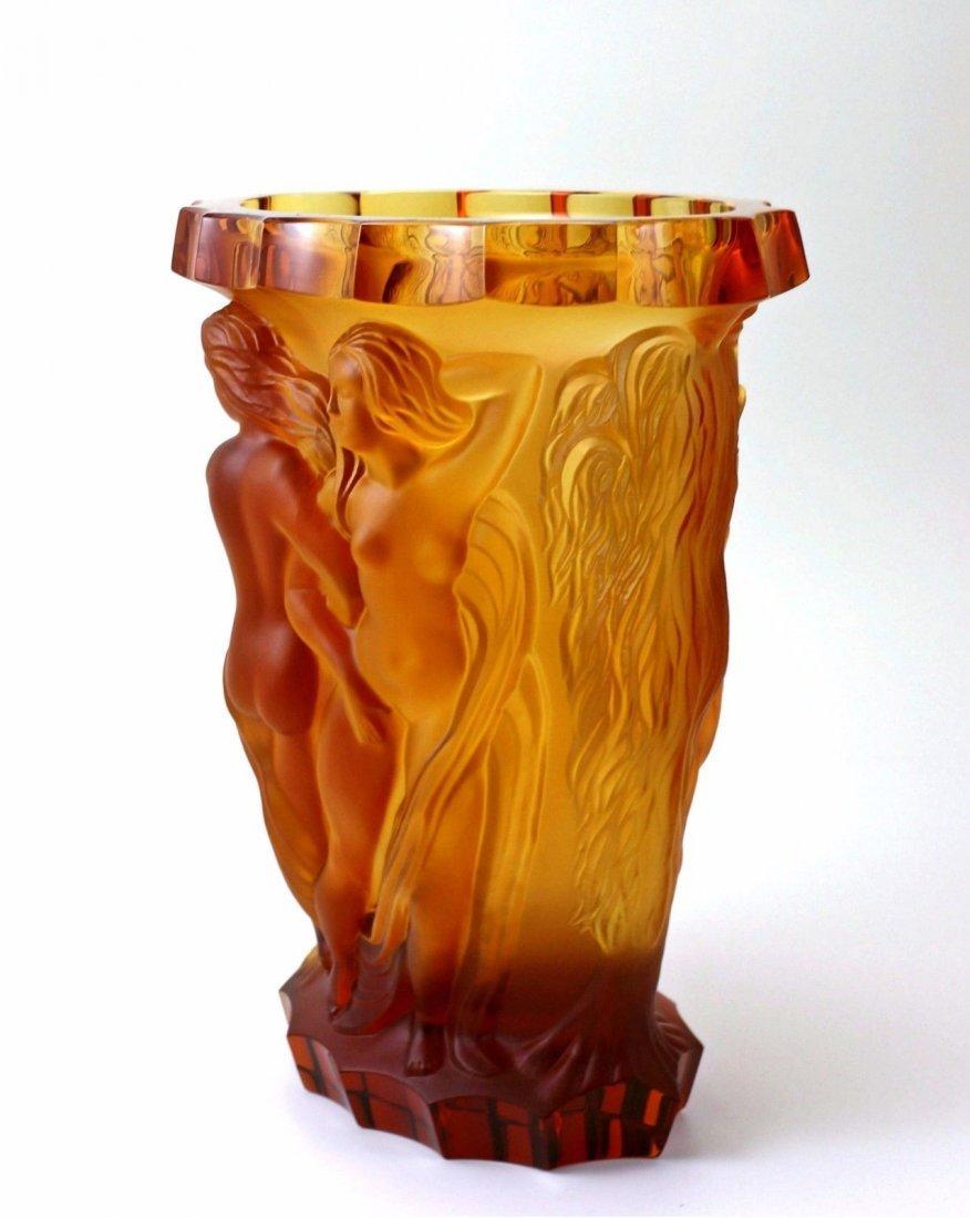 Bohemian Art Deco Amber Glass Rare Large Vase - 5