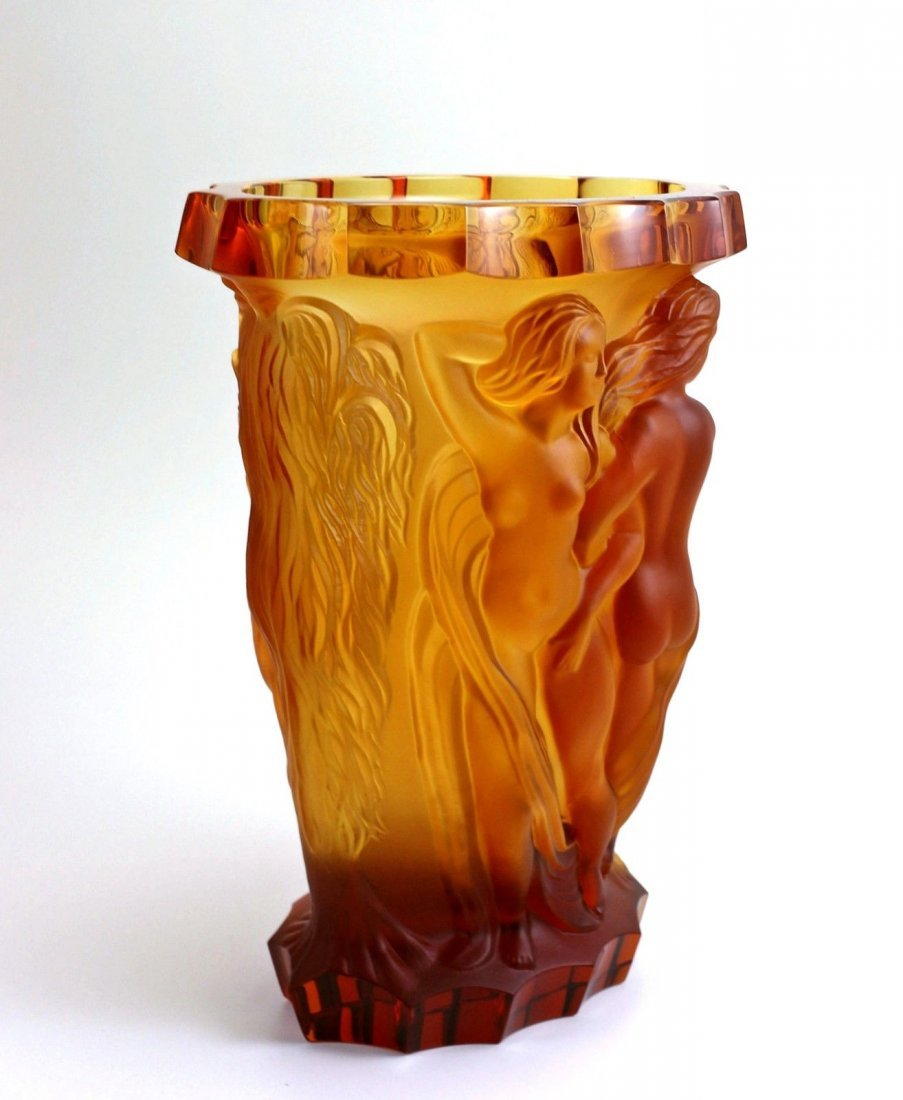 Bohemian Art Deco Amber Glass Rare Large Vase - 6