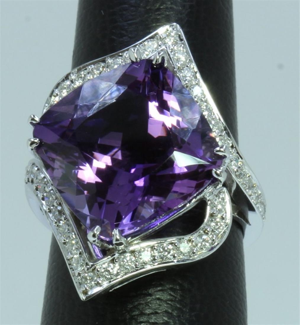 14K : 10g/Diamond : 0.66ct/Amethyst : 13.61ea