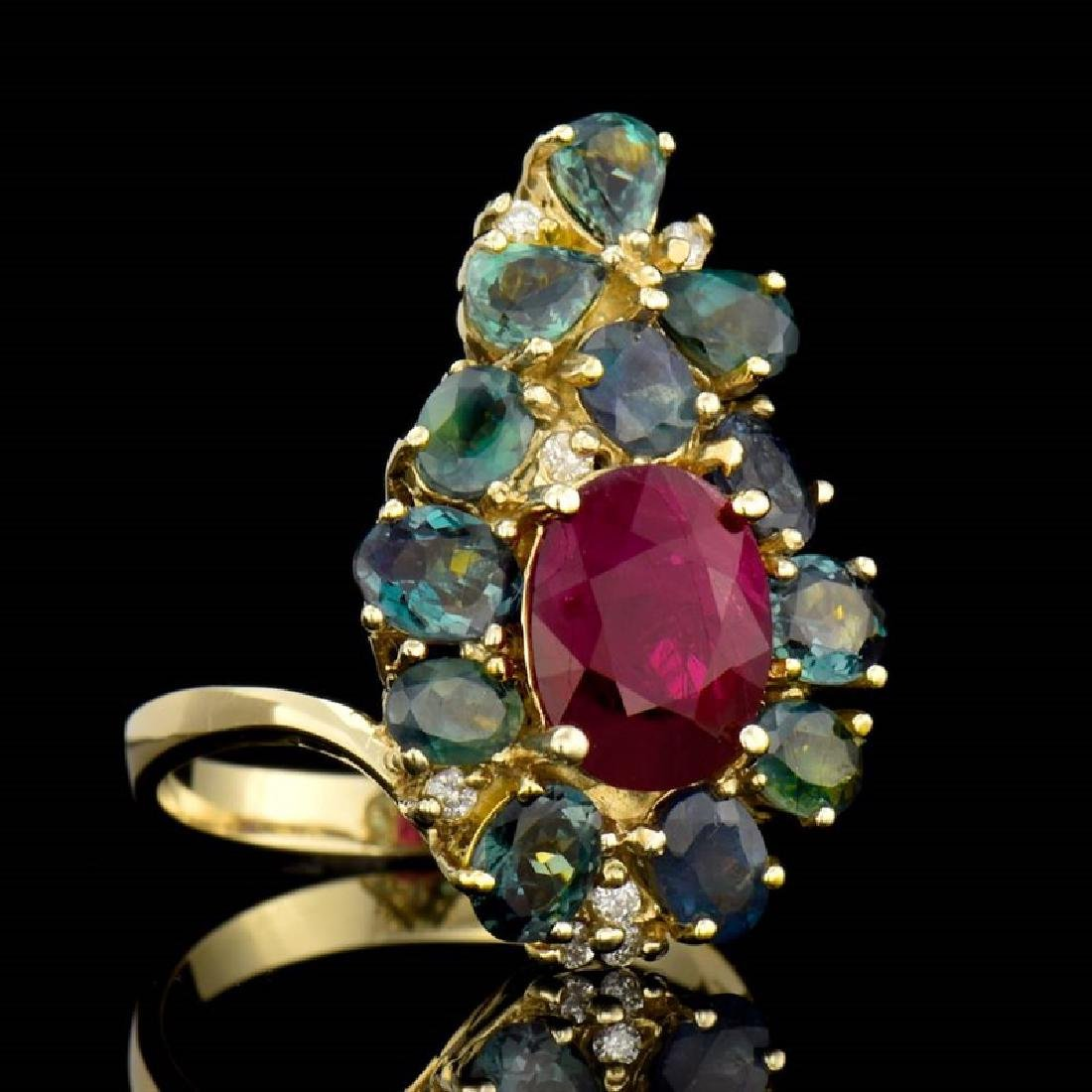 3.22ct Oval Alexandrite / 2.75ct Oval Ruby 14K Yellow