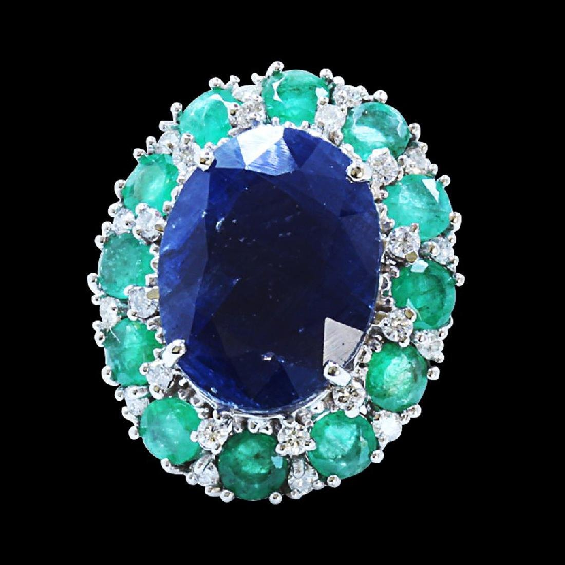 16ct Approx Blue Sapphire / 3.5ct approx Emerald 14K