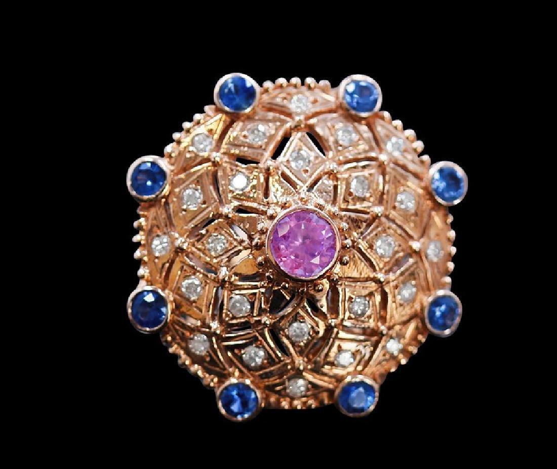 0.98ct Blue Sapphire / 0.79ct Pink Sapphire 14K Rose