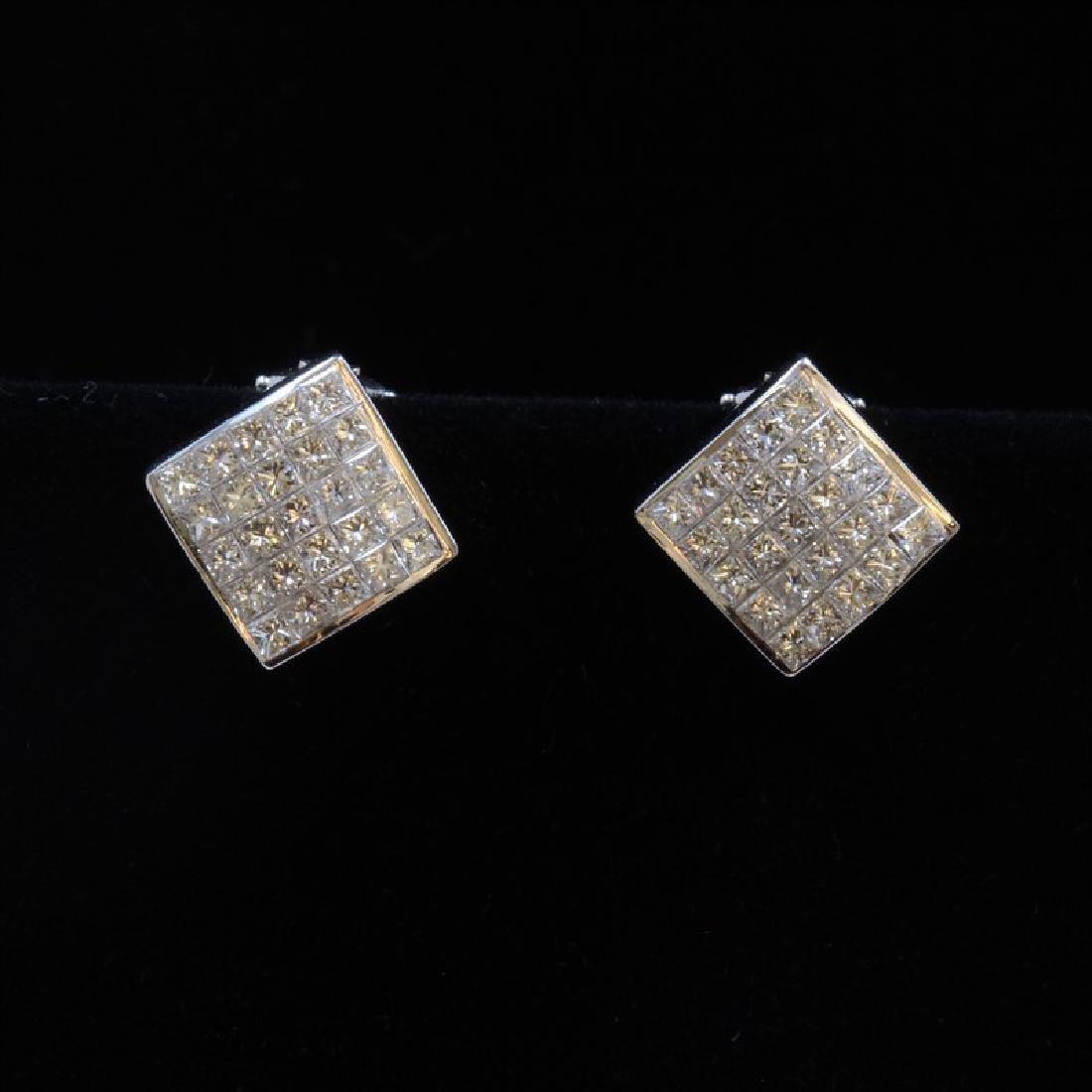 18k White Gold And Diamond Earring Princess Shape