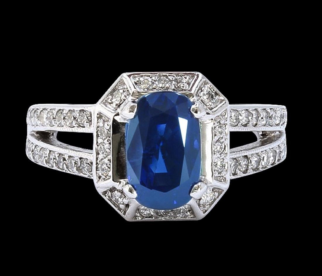GIA 3.22CT NATURAL CEYLON BLUE SAPPHIRE 14K WHITE GOLD