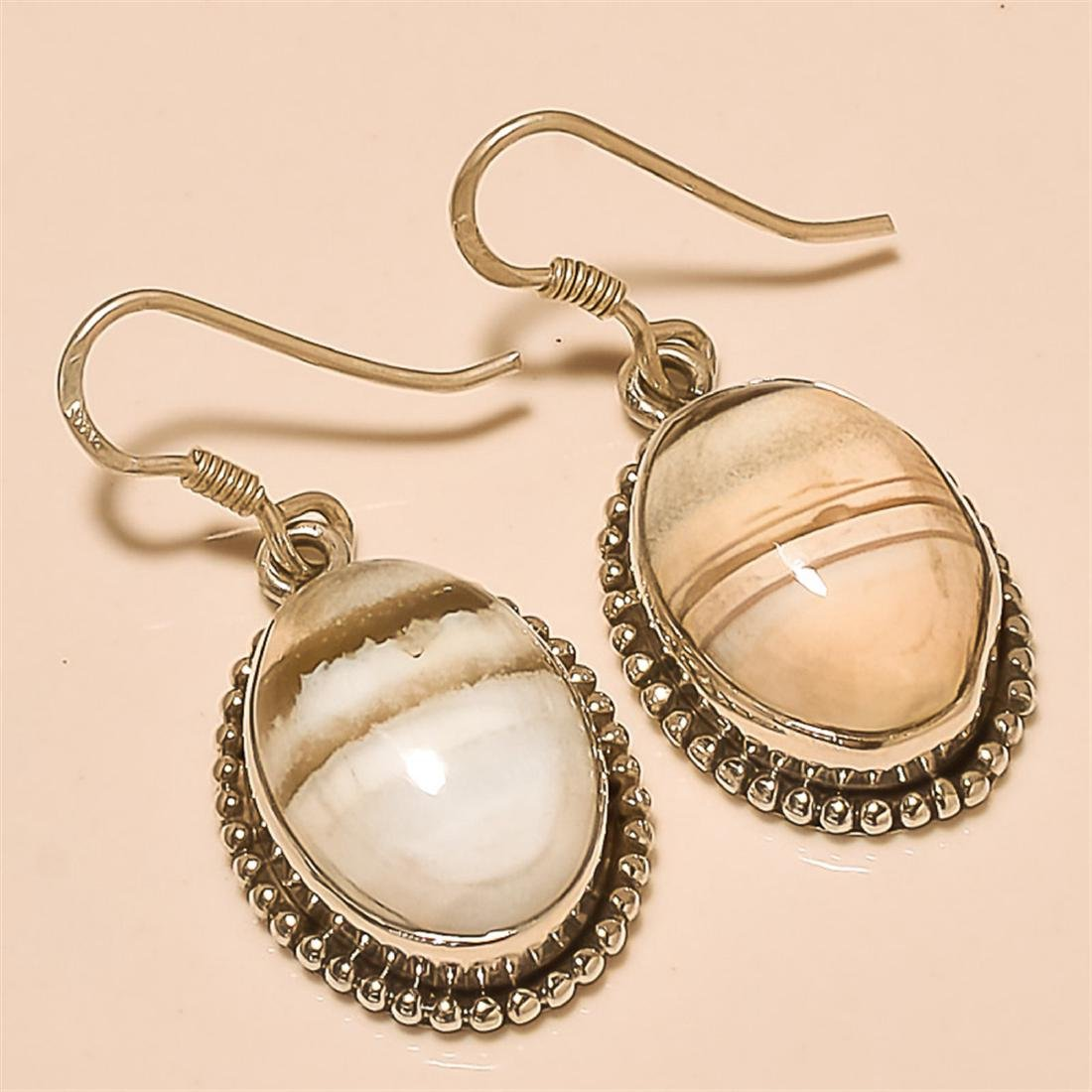 White Agate Earring Solid Sterling Silver