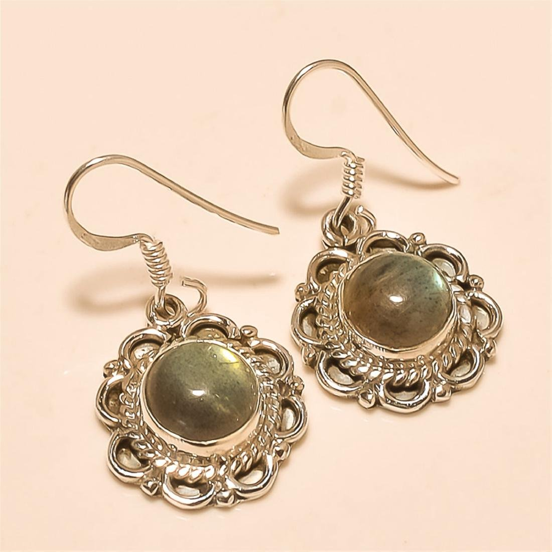 Labradorite Earring Solid Sterling Silver